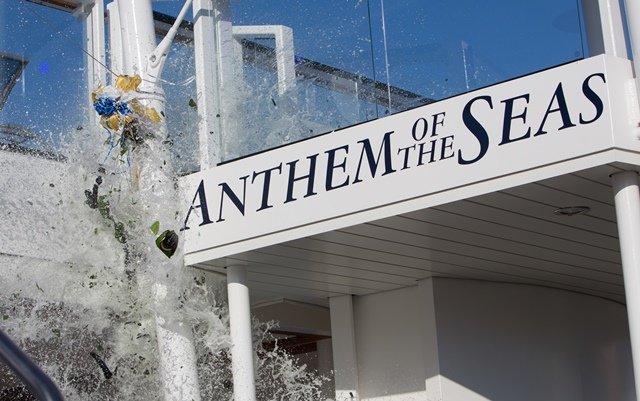Royal Caribbean introduces its newest and most technologically advanced cruise ship Anthem of the Seas.Naming of Anthem of the Seas. Bottle smash .